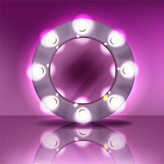 Runder spiegel des makes-up mit lampenbirnenillustration des modernen silbernen rahmens mit realistischem licht
