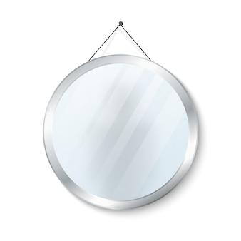 Runder spiegel mit stahlrahmenvektorillustration