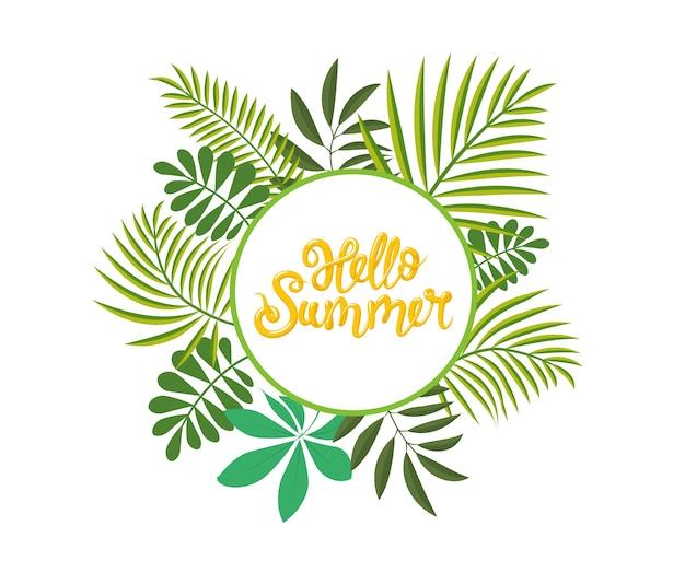 Runder tropischer rahmen, vorlage mit platz für text. hallo sommer schriftzug.