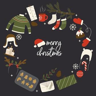 Runder vorlagenrahmen oder karte für glückwünsche und werbung mit weihnachtsvektorelementen