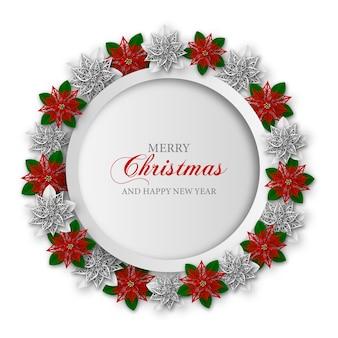 Runder weihnachtsrahmen mit papierpoinsettia blumen