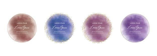 Rundes aquarell in lila, blau und rot mit goldenen konfetti-rahmen