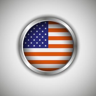 Rundes banner mit der amerikanischen flagge und einem band für text