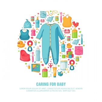 Rundes banner mit kindheitsmuster. neugeborenes personal zur dekoration. kreis design-vorlagen für karte, einladung mit baby crawler kleidung, spielzeug, zubehör für jungen babys dusche. .
