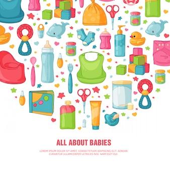 Rundes banner mit kindheitsmuster. neugeborenes personal zur dekoration. kreis design-vorlagen für karte, einladung mit kleidung, spielzeug, zubehör für babyparty. .