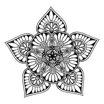 Rundes blumenmandala für henna lokalisiert auf weiß