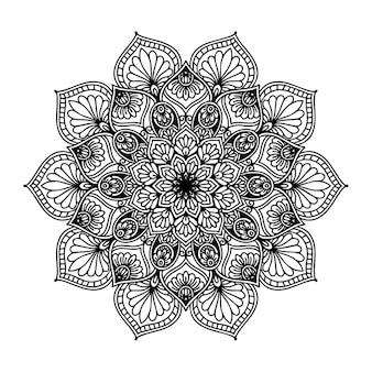 Rundes blumenmandala für tätowierung, henna oder malvorlage