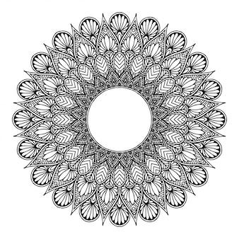Rundes blumenmandala für tätowierung, henna. vintage dekorative elemente. orientalische muster. indisches design, muster und stempel.