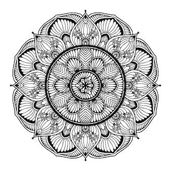 Rundes blumenmandala für tätowierung, henna. vintage dekorative elemente.