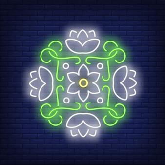 Rundes blumenmandala-leuchtreklame