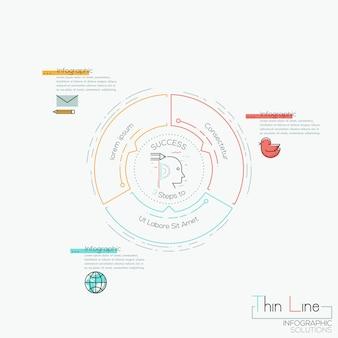 Rundes diagramm 3 mehrfarbige elemente mit pfeilen