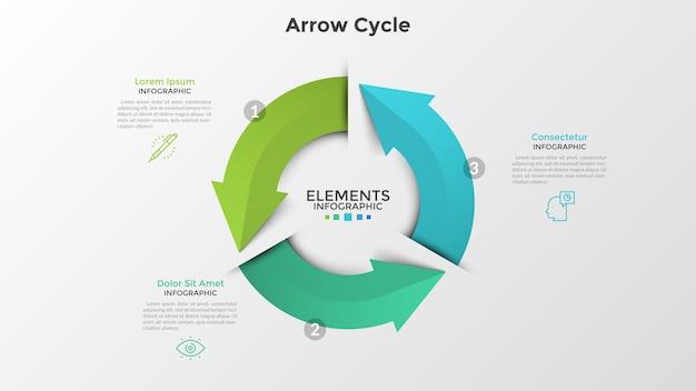 Rundes diagramm mit drei bunten pfeilen, dünnen liniensymbolen und textfeldern. konzept des 3-stufigen zyklischen geschäftsprozesses. realistische infografik-design-vorlage. vektorillustration für die präsentation.