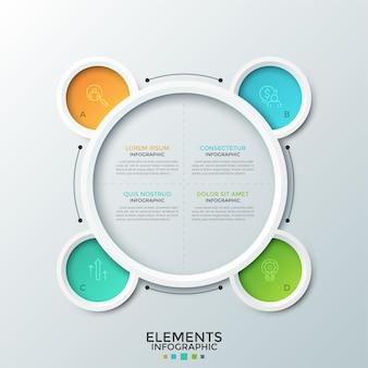 Rundes diagramm, unterteilt in 4 gleiche sektoren und vier bunte kreisförmige elemente mit dünnen liniensymbolen und buchstaben im inneren. kreative infografik-design-vorlage. zur präsentation.