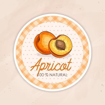 Rundes etikett mit süßer und gesunder aprikose