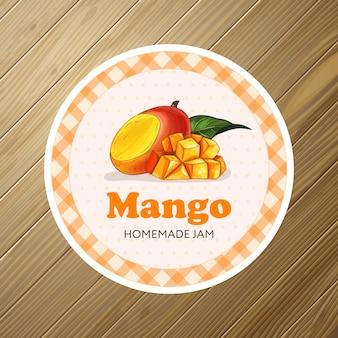 Rundes etiketten- oder aufkleberdesign mit mango-illustration