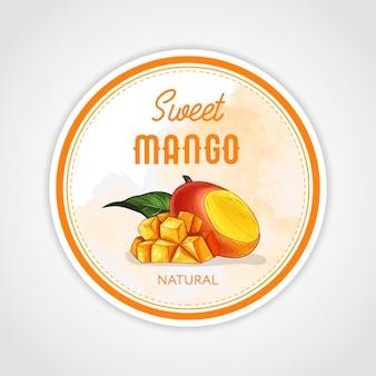Rundes etiketten- oder sticker-design im vintage-stil mit mango