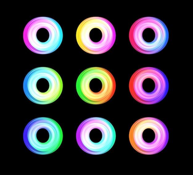 Rundes farb-overlay-donut-logo-set globales netzwerk abstrakter symbolkreis futuristischer reifenvektor