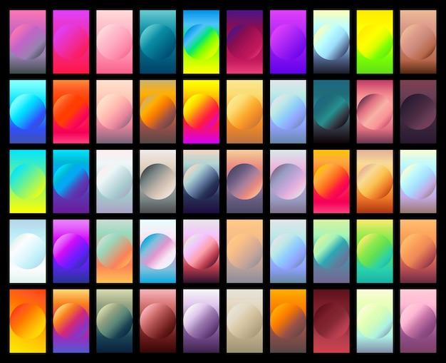 Rundes farbverlaufsset mit modernen abstrakten hintergründen bunte flüssige abdeckungen für kalenderbroschüre
