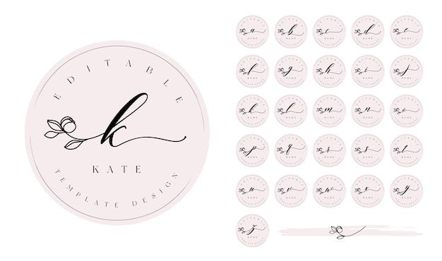 Rundes, feminines, vorgefertigtes logo-design-set mit kalligraphie-blumen-swash