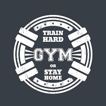 Rundes fitness-emblem, t-shirt-druck mit langhanteln, weiß auf grau