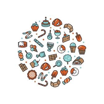 Rundes konzept der süßen nachtische und der süßigkeitsikonen lokalisiert