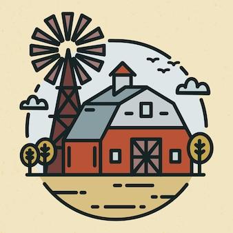Rundes logo mit ackerlandlandschaft, landhaus oder landwirtschaftlichem gebäude und windmühle im strichkunststil