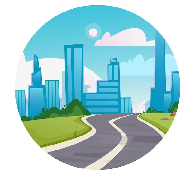 Rundes logo-symbol kurvenreiche straße, die zu einem geschäftszentrum für hochhäuser der großstadt führt