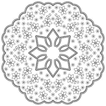 Rundes mandala mit blume. dekorative verzierung im ethnisch orientalischen stil. umriss gekritzel hand zeichnen illustration.