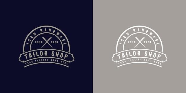 Rundes monogramm-logo-abzeichen im vintage-retro-stil für handgefertigte schneiderateliers oder nähwerkstätten vintage-retro-logo-abzeichen im retro-stil für handgefertigte schneiderateliers oder nähgeschäfte premium