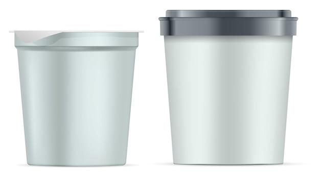 Rundes papierglas eingestellt. silberner weißer mattjoghurttopf