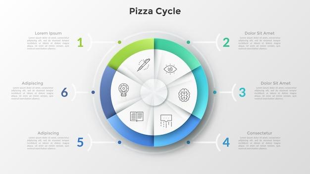 Rundes pizzadiagramm, unterteilt in 6 gleiche sektoren mit linearen symbolen im inneren, die mit nummerierten textfeldern verbunden sind. konzept von sechs funktionen des geschäftsprojekts. infografik-design-layout.
