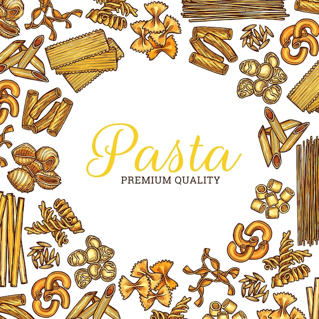 Rundes plakat der italienischen nudelskizze, spaghetti und makkaroni
