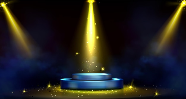 Rundes podium, leere bühne von scheinwerfern beleuchtet.