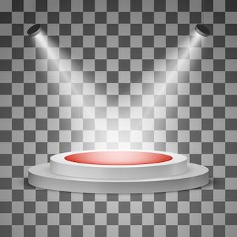 Rundes podium mit einem roten teppich und einem scheinwerfer isoliert