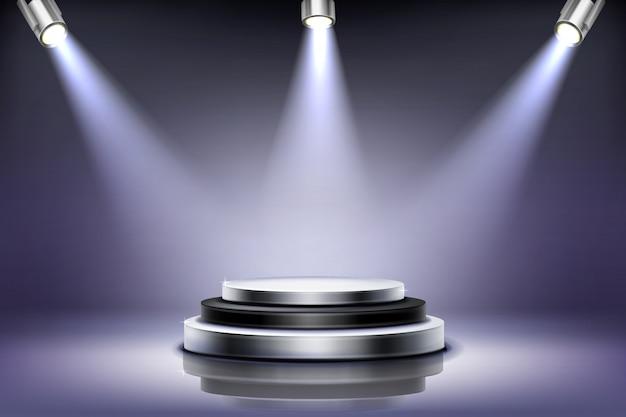 Rundes podium mit scheinwerferbeleuchtung