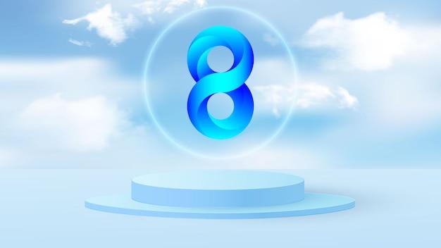 Rundes podium oder baseboard auf einer minimalen bühne. volumetrische nummer 8 abbildung