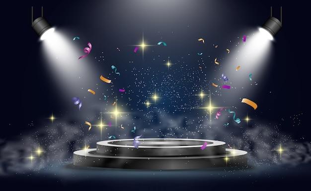 Rundes podium, podest oder plattform, beleuchtet von scheinwerfern im hintergrund. abbildungen. podium mit rauch. helles licht. rauch.