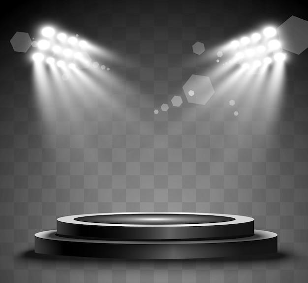 Rundes podium, podest oder plattform, beleuchtet von scheinwerfern im hintergrund. helles licht. licht von oben. werbeplatz