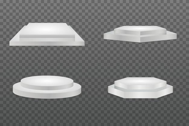 Rundes podium. showroom-sockel, isoliertes modell der bodenbühnenplattform. sockel und plattform, standbühne, zylinder und quadrat