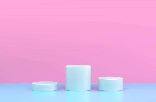 Rundes podium, sockel oder plattform, hintergrund für die präsentation kosmetischer produkte. 3d podium. werbeplatz. leerer produktstandhintergrund in den pastellfarben.