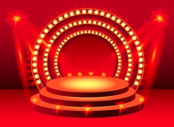 Rundes rotes Bühnenpodium mit Beleuchtung. Für Banner, Plakate, Prospekte und Broschüren.