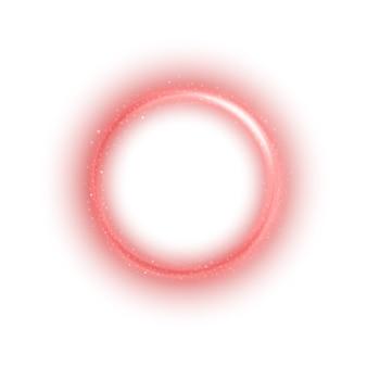 Rundes rotes licht verdrehte sich auf weißen hintergrund
