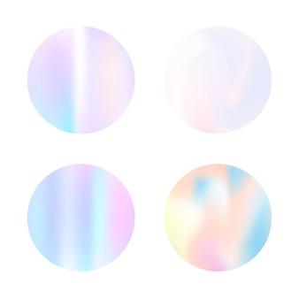 Rundes set mit farbverlauf und holografischem netz. bunte abstrakte gradienten runden kulissen. 90er, 80er retro-stil. schillernde grafikvorlage für banner, flyer, cover, mobile schnittstelle, web-app.