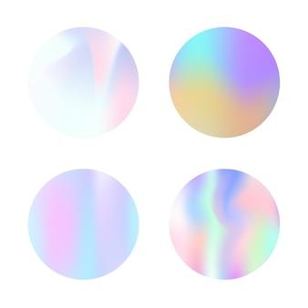 Rundes set mit farbverlauf und holografischem netz. runde kulissen aus kunststoff mit abstraktem farbverlauf. 90er, 80er retro-stil. schillernde grafikvorlage für banner, flyer, cover, mobile schnittstelle, web-app.