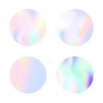Rundes set mit farbverlauf und holografischem netz. stilvolle abstrakte runde hintergrundkulissen mit farbverlauf. 90er, 80er retro-stil. schillernde grafikvorlage für broschüre, flyer, poster, wallpaper, handy-bildschirm.