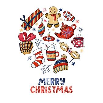 Rundes weihnachtsgrußkartendesign mit text und gekritzeln