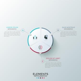 Rundes weißes kreisdiagramm aus papier, unterteilt in 3 gleiche sektoren mit flachen symbolen im inneren, die mit textfeldern verbunden sind. konzept des dreistufigen kreisprozesses. modernes infografik-design-layout.