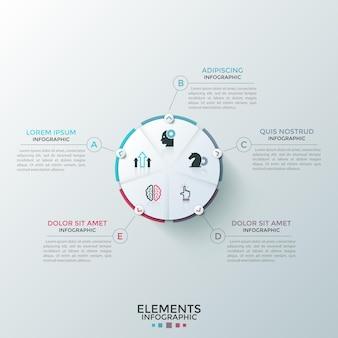 Rundes weißes kreisdiagramm aus papier, unterteilt in 5 gleiche sektoren mit flachen symbolen im inneren, die mit textfeldern verbunden sind. konzept des fünfstufigen kreisprozesses. modernes infografik-design-layout.