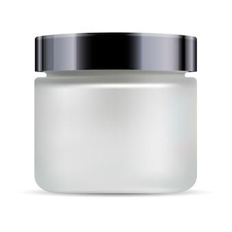 Rundes weißes mattes glasgefäß schwarzer glänzender kunststoff