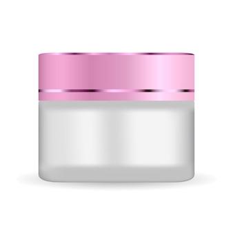 Rundes weißes mattglas mit farbigem kunststoffdeckel